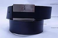 """Ремень мужской кожа  Calvin Klein гвоздик гладкий джинс темно синий  """"Remen"""" LM-638"""