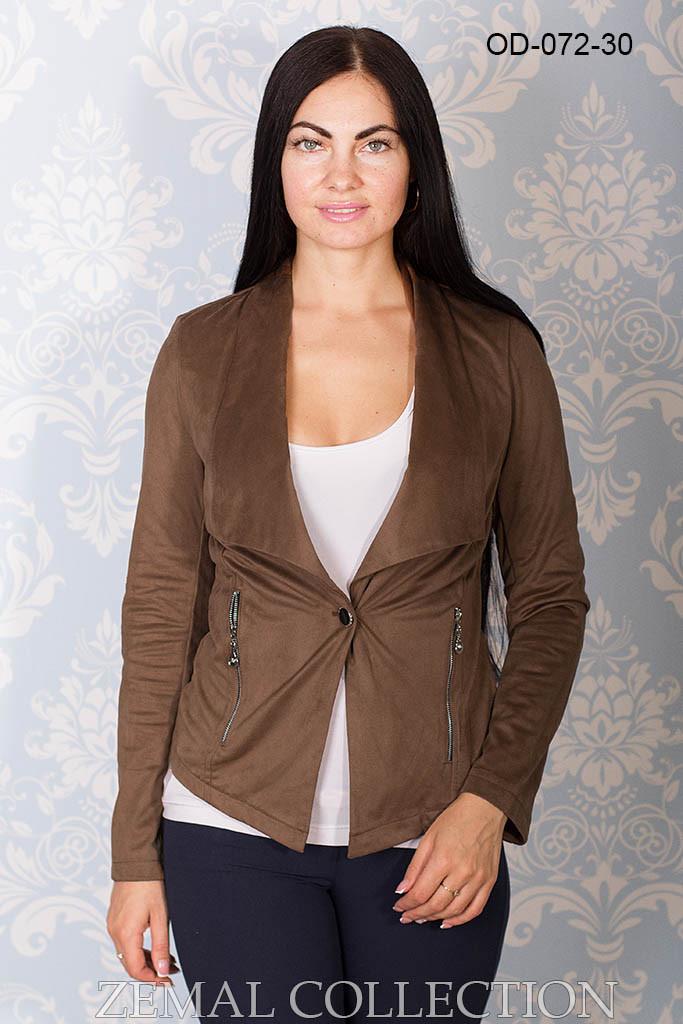 Приталенный пиджак из замши 48р