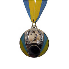 Медаль спорт d-6,5см C-4339-2 серебро UKRAINE с укр. символикой  (металл, 40g)