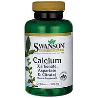 Кальций в таблетках (Карбонат, Аспартат & Цитрат), 500 мг 100 шт