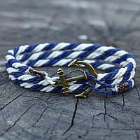 Браслет на руку с якорем WHITE-BLUE