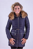 Куртка женская с мехом енот и молниями на карманах