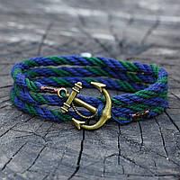 Браслет на руку с якорем GREEN-BLUE