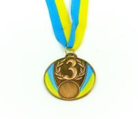 Медаль спорт d-6,5см C-4339-3 бронза UKRAINEс укр. символикой  (металл, 40g)