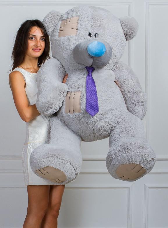 Большой плюшевый мишка серый 150 см купить