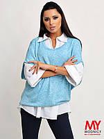 Комплект двойка блуза-рубашка + кофта-безрукавка 3296 Норма! (НАТ)
