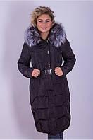 Длинная женская куртка с мехом чернобурки искусственным