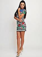 Платье трикотажное в полоску мини с принтом Розы 3295 Норма! (НАТ)