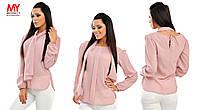 Блузка шифоновая с объемными рукавами и шарфом - бант 3289 Норма! (НАТ)