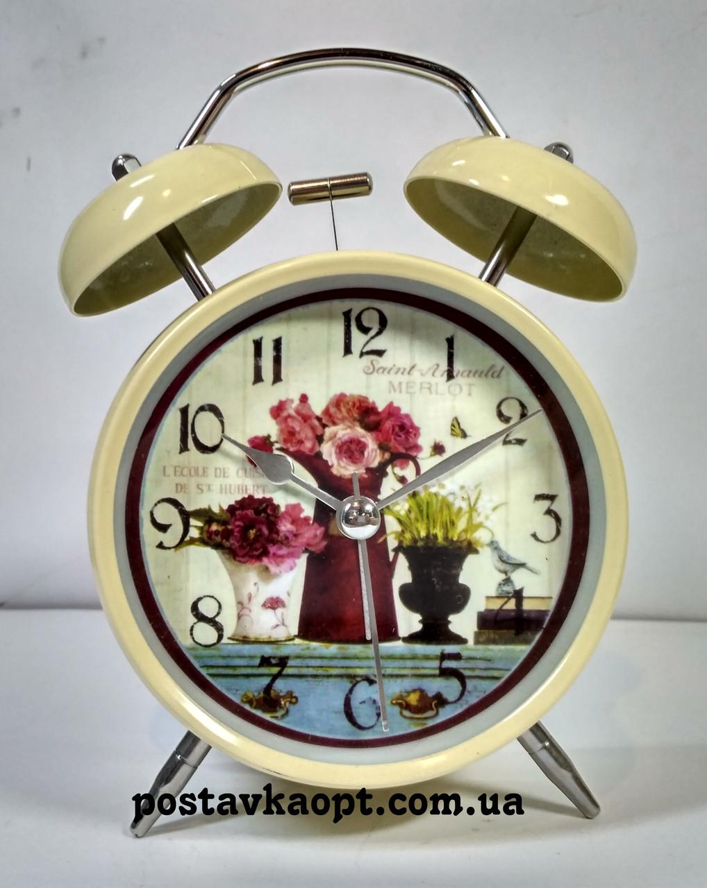 Будильник Прованс металлический большой цветы 8
