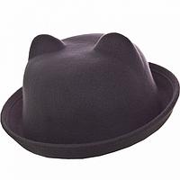 Шляпка детская котелок с ушками серая