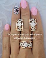 """Серебряный комплект """"Удовольствие"""" с золотыми накладками женский, фото 1"""