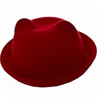 Шляпка женская красная котелок с ушками