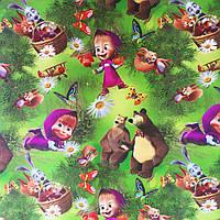 """Подарочная бумага для упаковки детских  подарков """" Маша и Медведь """"  , размер 707х1000 мм"""