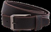 Ремень мужской (джинс) кожаный тёмно коричневый
