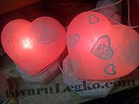 Лампа из соли - сердце с рисунком