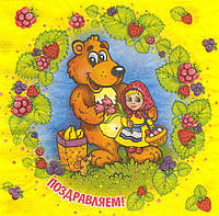 Салфетка декупажная Маша и медведь 6283