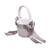 Свадебная корзинка для лепестков с серыми лентами