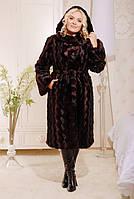 Эко Шуба с капюшоном, коричневая норка 44,46,48,50 , фото 1