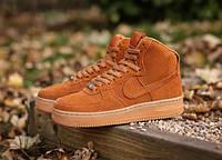 """Кроссовки мужские замшевые высокие Nike Air Force Brown Suede Hi """"Коричневые"""" р. 44, фото 1"""