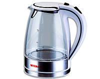 Чайник электрический Vitalex VL-2019, электрический чайник, прозрачный электрочайник с подсветкой