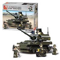 Конструктор SLUBAN M38-B9800  танк, фигурки, 258дет, в кор-ке, 33-28-7см
