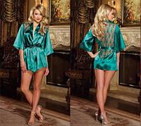 Роскошный халат-пеньюар+пояс+стринги  Зеленый