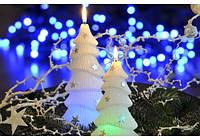 Свеча декоративная зимняя ель с подсветкой1шт/160мм