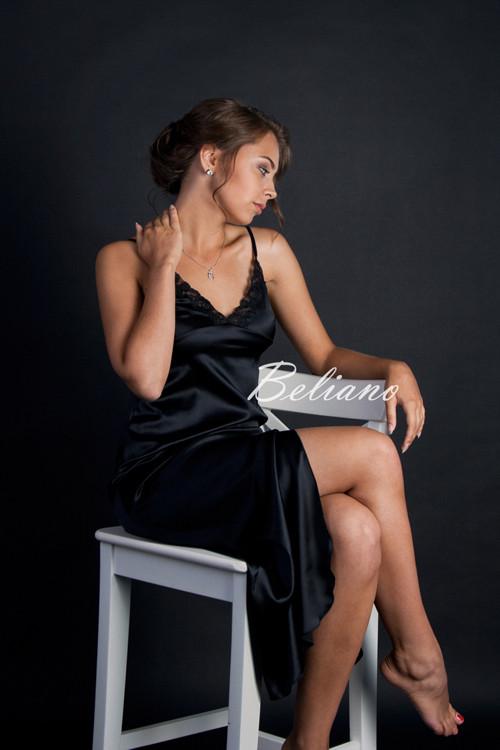 Длинная ночная рубашка (ночнушка) из натурального шелка черного цвета b7afaff9d77a2