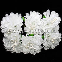 "Цветок ""Хризантема органза"" (цена за букет из 6 шт). Цвет - белый"