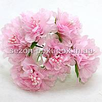 """Цветок """"Хризантема органза"""" (цена за букет из 6 шт). Цвет - розовый"""