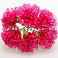 """Цветок """"Хризантема органза"""" (цена за букет из 6 шт). Цвет - малиновый, фото 1"""