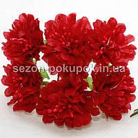 """Цветок """"Хризантема органза"""" (цена за букет из 6 шт). Цвет - красный, фото 1"""