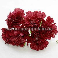 """Цветок """"Хризантема органза"""" (цена за букет из 6 шт). Цвет - бордовый, фото 1"""