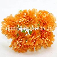 """Цветок """"Хризантема органза"""" (цена за букет из 6 шт). Цвет - оранжевый"""