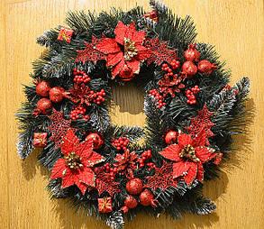 Венок новогодний большой  украшенный  0423R, фото 2