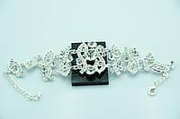 Праздничный женский браслет с кристаллами и стразами. Нарядная бижутерия оптом недорого. 884
