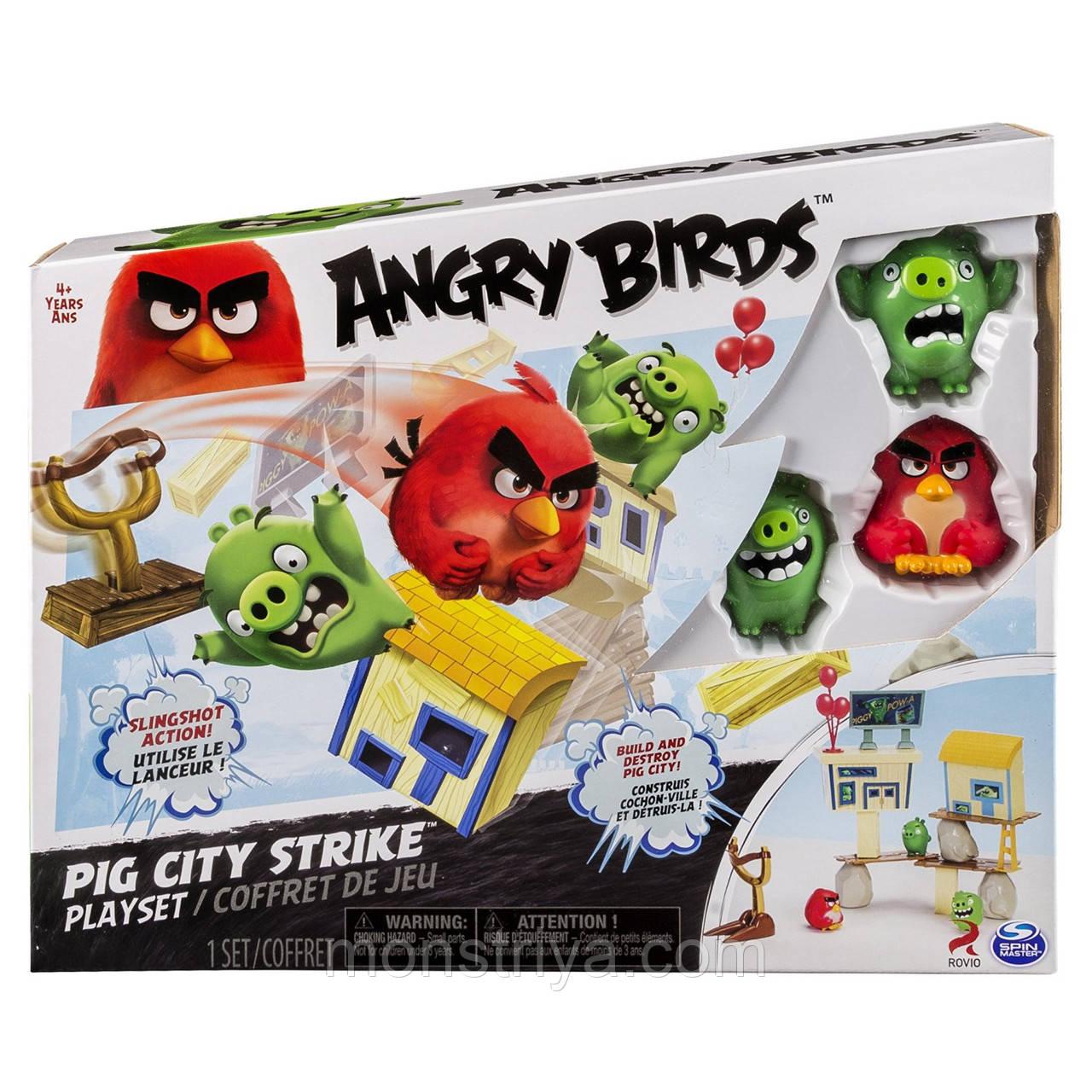 Энгри Бердз средний игровой набор Ред атакует город свинок, Angry Birds
