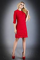 Стильное  платье-туника Лорин красное 42-48 размеры Jadone