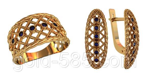 33b90c990d83 Превосходный золотой ювелирный комплект 585  с сеточкой и камнями - Мастерская  ювелирных украшений «GOLD