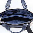 Кожаная мужская сумка Mk20 синяя, фото 5