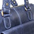 Кожаная мужская сумка Mk20 синяя, фото 4
