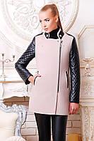 Женское зимнее пальто с кожаными рукавами, фото 1