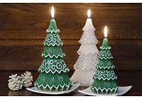 Свеча декоративная ель белая с серебрянным узором 1шт, фото 1