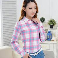 Рубашка женская в клетку розовая
