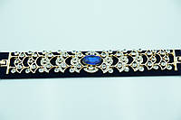 Сказочный браслет с синим камнем и стразами. Кристальная бижутерия оптом для женщин. 897