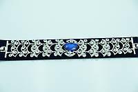 Серебристый браслет с синим камнем. Царская бижутерия оптом для женщин. 898
