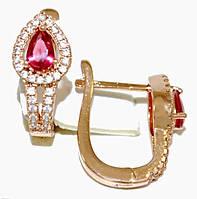 Серьги ХР позолота с красным оттенком. Камень:розовый циркон и белые фианиты,высота серьги 2 см. ширина 8 мм.