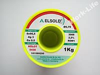 Припой ELSOLD бессвинцовый с серебром 0,75мм 1 кг. ГЕРМАНИЯ