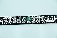 Серебристый браслет с зелёным камнем. Царские украшения оптом для женщин. 899